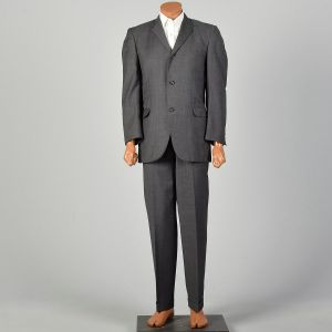 1960s Gray Suit Three Roll Two Slim Lapel Jacket Flat Front Tapered Leg Cuffed Pants