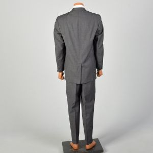 1960s Gray Suit Three Roll Two Slim Lapel Jacket Flat Front Tapered Leg Cuffed Pants - Fashionconstellate.com