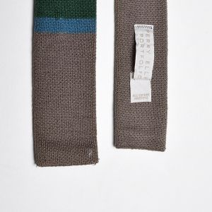 1980s Perry Ellis Gray Knit Neck Tie Green Color Block Square Bottom Necktie - Fashionconstellate.com