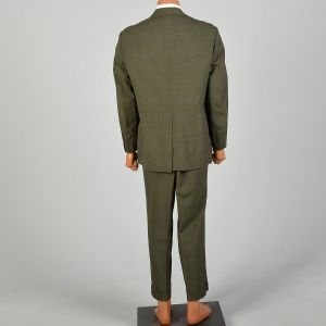 1970s Plaid Green Three Roll Two Single Vent Suit Flat Front Cuffed Tapered Leg - Fashionconstellate.com