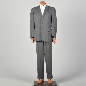 1950s Mens Gray Striped Suit Medium Lapel Three Button Jacket Pleated Front Tapered Leg