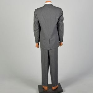 1950s Mens Gray Striped Suit Medium Lapel Three Button Jacket Pleated Front Tapered Leg - Fashionconstellate.com