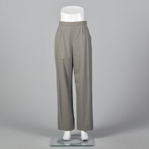 Medium 1990s Hermes Gray Wool Pants Ivory Pin Stripes