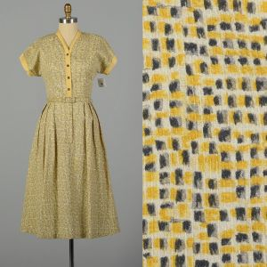 Large 1950s Day Dress Yellow and Grey Geometric Pattern with Belt