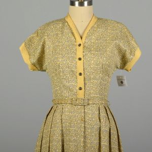 Large 1950s Day Dress Yellow and Grey Geometric Pattern with Belt - Fashionconstellate.com
