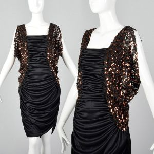 Medium 1980s Stretch Harem Dress Sequined Cold Shoulder Sleeves Sexy Cocktail Party Frock
