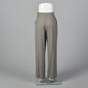 Medium 1990s Hermes Gray Wool Pants Ivory Pin Stripes  - Fashionconstellate.com