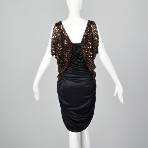 Medium 1980s Stretch Harem Dress Sequined Cold Shoulder Sleeves Sexy Cocktail Party Frock - Fashionconstellate.com