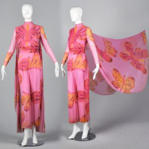 XXS 1960s Novelty Butterfly Print Silk Jumpsuit with Cape
