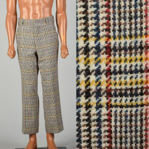 Small 1960s Mens Colorful Plaid Wool Pants Flat Front Straight Leg Short