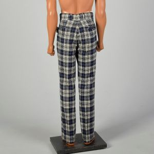 Medium 1960s Pendleton Wool Pants Navy Blue Plaid Flat Front Straight Leg - Fashionconstellate.com
