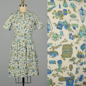 Large 1950s Day Dress Cotton Novelty Cooking Kitchen Print Summer
