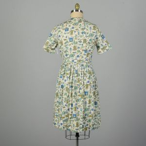 Large 1950s Day Dress Cotton Novelty Cooking Kitchen Print Summer - Fashionconstellate.com