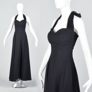 Small 1990s Black Halter Dress Sweetheart Neck