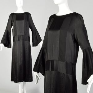 Large 1920s Silk Dress Art Deco Black on Black Trumpet Bell Sleeve Evening Gown