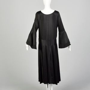 Large 1920s Silk Dress Art Deco Black on Black Trumpet Bell Sleeve Evening Gown - Fashionconstellate.com