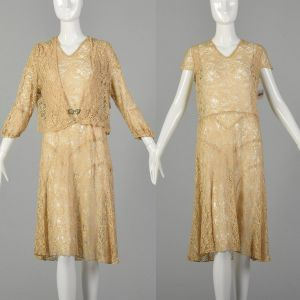 XL 1920s Lace Dress Jacket Set Art Deco Buckle Casual Summer As Is