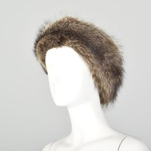XS Raccoon Fur Headband Velvet Lined Brown Ear Muffs Winter Accessory  - Fashionconstellate.com