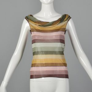 XS 1980s Missoni Colorful Knit Stripe Top Sleeveless