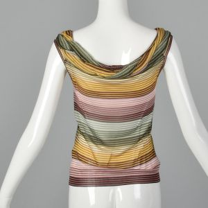 XS 1980s Missoni Colorful Knit Stripe Top Sleeveless - Fashionconstellate.com