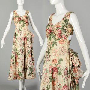 Medium 1940s Sleeveless Floral Spring Dress Ruched Bust Bow Sash
