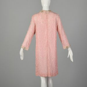 Large 1960s Mod Pink Dress Beaded Lace Long Sleeve Cocktail Party - Fashionconstellate.com
