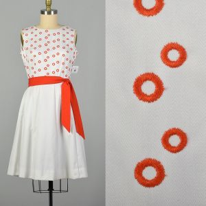 XL 1960s Pat Premo Dress White with Orange Embroidery and Bow