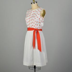 XL 1960s Pat Premo Dress White with Orange Embroidery and Bow  - Fashionconstellate.com