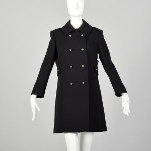 Small 1960s Mod Black Coat Double Breasted Military Style Winter Outerwear