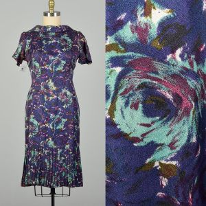 Large 1950s Blue and Purple Swirl Patterned Acetate Dress Pleated