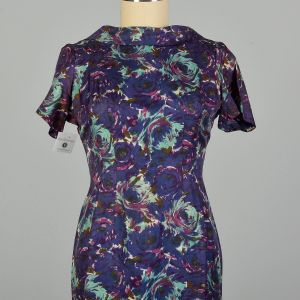 Large 1950s Blue and Purple Swirl Patterned Acetate Dress Pleated  - Fashionconstellate.com
