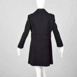 Small 1960s Mod Black Coat Double Breasted Military Style Winter Outerwear - Fashionconstellate.com