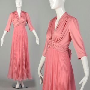 Large 1970s Miss Elliette Dress Pink Pleated Evening Maxi Gown