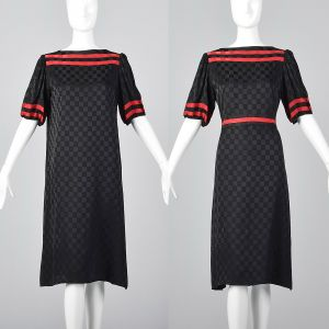 Medium 1980s Oleg Cassini Black Checkered Silk Dress Short Sleeve Shift Red Trim