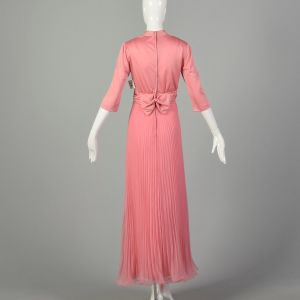 Large 1970s Miss Elliette Dress Pink Pleated Evening Maxi Gown - Fashionconstellate.com