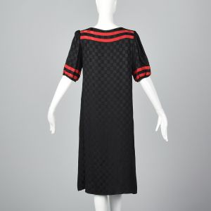 Medium 1980s Oleg Cassini Black Checkered Silk Dress Short Sleeve Shift Red Trim - Fashionconstellate.com