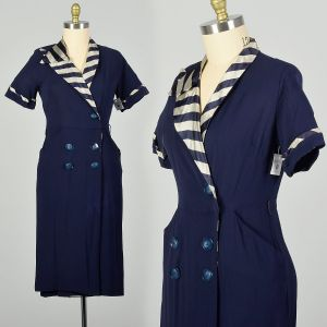 Large 1950s Asymmetric Navy Striped Collar Day Dress Casual Short Sleeve