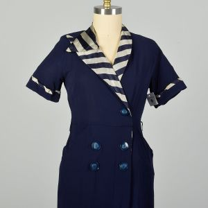 Large 1950s Asymmetric Navy Striped Collar Day Dress Casual Short Sleeve - Fashionconstellate.com
