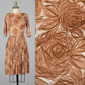 Small 1960s Brown Rose Print Dress Silky Floral Fitted Waist Pleated Skirt Pinup Rockabilly