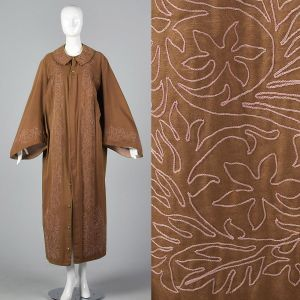 Antique Masonic Brown Ceremonial Robe Pink Embroidery Unisex Theater Costume Secret Society