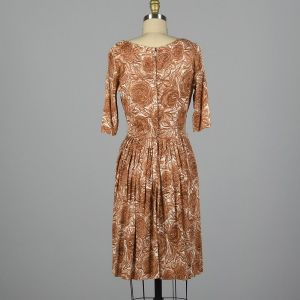 Small 1960s Brown Rose Print Dress Silky Floral Fitted Waist Pleated Skirt Pinup Rockabilly - Fashionconstellate.com