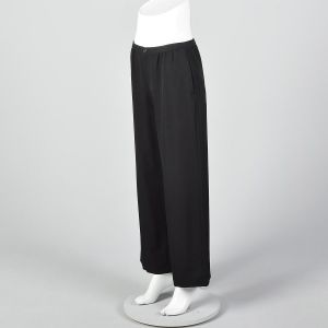 Medium Issey Miyake 1990s Pants Black Wide Leg Pleated Front Wool Trousers Designer Pants - Fashionconstellate.com