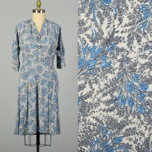 Large 1950s Silky Summer Day Dress Floral Print Rhinestone Buttons