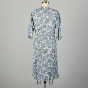 Large 1950s Silky Summer Day Dress Floral Print Rhinestone Buttons - Fashionconstellate.com