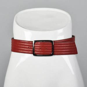 Small 1980s Yves Saint Laurent Leather Belt Red Raised Texture Silver Square Buckle