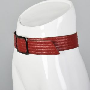 Small 1980s Yves Saint Laurent Leather Belt Red Raised Texture Silver Square Buckle   - Fashionconstellate.com
