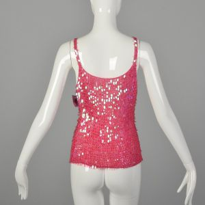 Small 1990s Crochet Cami Hot Pink Sequin Paillettes Tank Top  - Fashionconstellate.com