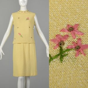 Medium 1960s Yellow Knit Outfit Sleeveless Top and Skirt Spring Ensemble