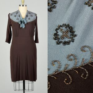 XL 1940s Dress Blue and Brown Rayon with Beading Tie Neckline