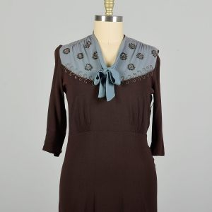 XL 1940s Dress Blue and Brown Rayon with Beading Tie Neckline  - Fashionconstellate.com